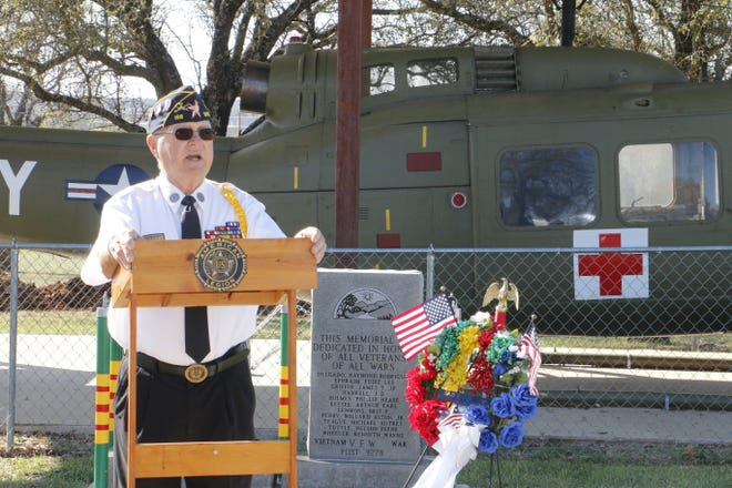 Retired Army Col. Tom Gray, commander of American Legion Post 196 in Brownwood, speaks at the Vietnam War observance Monday morning at the Central Texas Veterans Memorial.