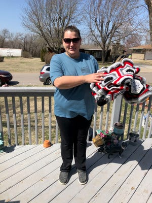 Wendy Michael was the winner of an  afghan donated by Donna Church for an American Legion Auxiliary fundraiser.