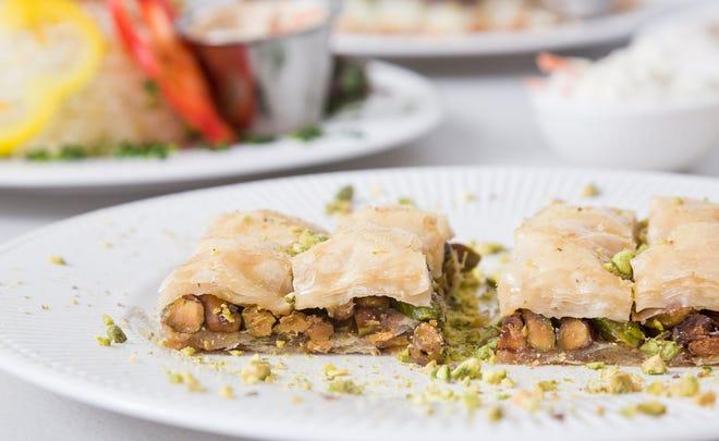 Pistachio baklava photographed at Syrian Kitchen
