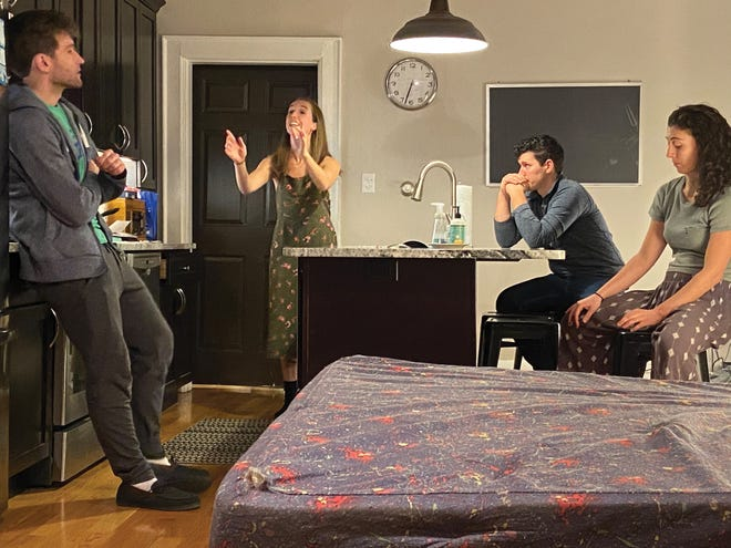 """Short North Stage actors—including Nick Cosgrove and Annie Winneg, both seated—rehearse a scene from """"Bad Jews."""""""