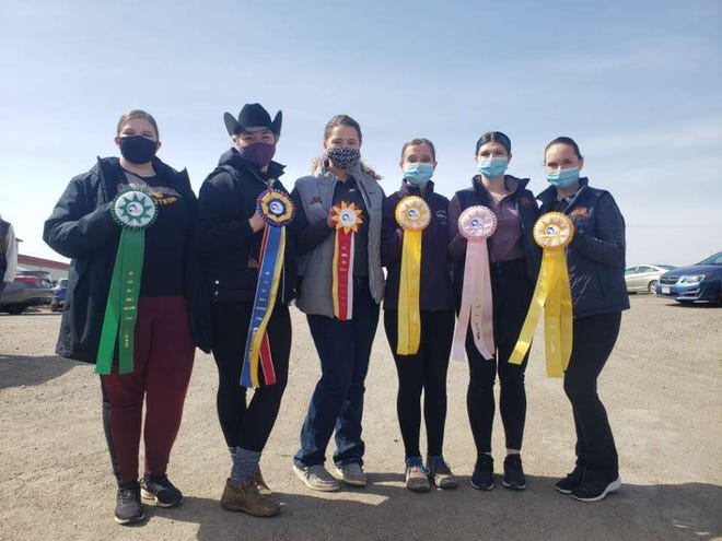 The six Minnesota Crookston riders that represented the Golden Eagles at the IHSA Regionals on Sunday in Fargo.