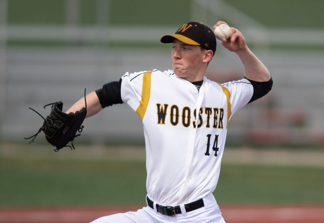 Wooster's Mitchell Reardon pitches against Denison.