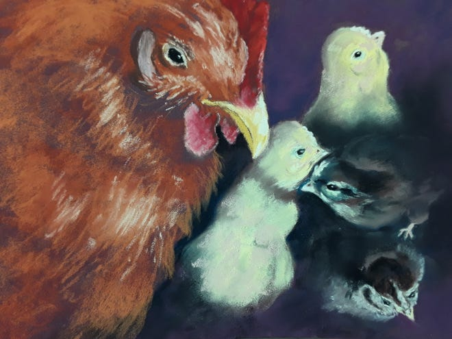 """This pastel art piece titled """"Julie's Chicks"""" was created by Adrian Center for the Arts resident artist and 2-D Director Jill Shaffer. Shaffer will helm an upcoming six-session class at the ACA titled Pastels Plus, which will begin Tuesday, April 6. Registration is required and the class size is limited because of the COVID-19 pandemic."""