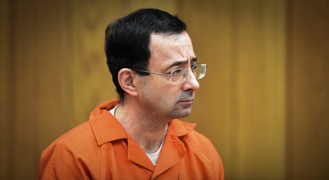 In this Feb. 5, 2018, file photo, Larry Nassar, former sports doctor who admitted to molesting some of the nation's top gymnasts, appears in Eaton County Court in Charlotte, Mich. Attorney General Dana Nessel said Friday, March 26, that the investigation of Michigan State University's handling of Nassar is over after the university refused to provide thousands of documents related to the scandal. Nessel's announcement came after the university said it would not change its position that the documents are protected by attorney-client privilege.