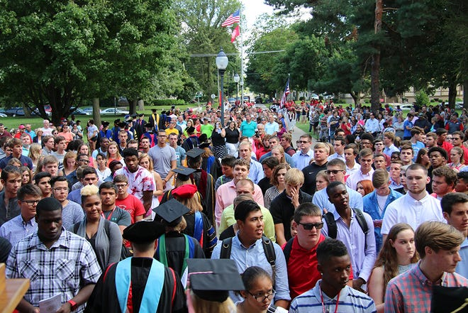 Members of Monmouth College's Class of 2020 are pictured on their first official day as students at the matriculation ceremony in August of 2016.