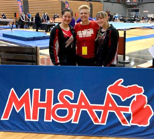 The Coldwater duo of Leah Goodwin (left) and Abby Travelbee (right) were joined by head coach Kim Nichols (center) at this weekend's MHSAA State Finals. Layla Schoch also qualified to compete at the finals but did not make the trip due to illness.