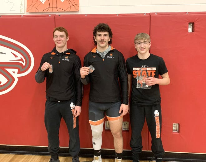 The Quincy trio of (from left) Gerl Pish, Tyler Saterlee and Jacob Reif punched their tickets to the MHSAA State Finals with a top four finish this past Saturday