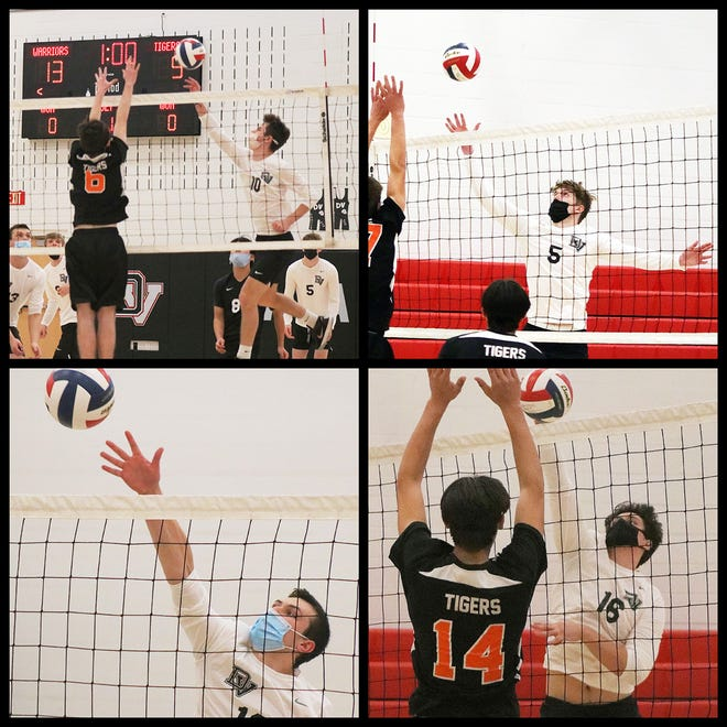 Zach Matthews (top left) Aiden U'Glay (top right) Zane Papula (bottom left) and Dan Zhivkovich (bottom right) all helped play key roles in the Warriors opening Wyoming Valley Conference victory last Friday. DelVal fought hard to seize the 3-1 win over visiting Tunkhannock.