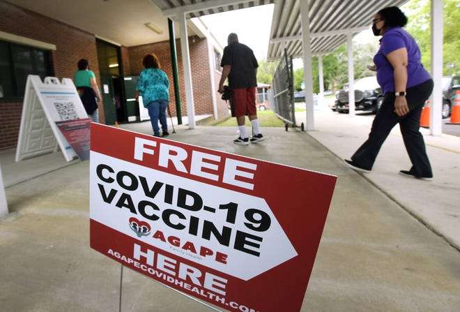 Potential vaccine recipients make their way into the James Weldon Johnson gym on the Edward Waters College campus where vaccines were being administered Monday, the day the state dropped the minimum age to get a COVID-19 vaccination for most residents to 40 years old.
