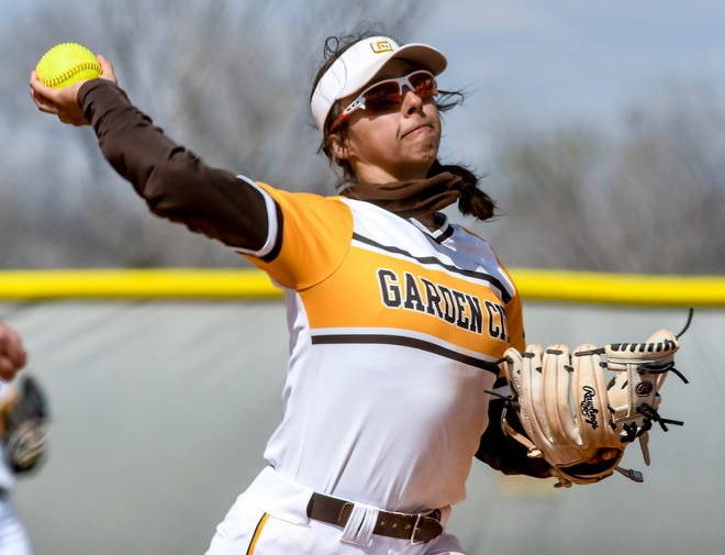 Garden City Community College shortstop Nya Chacon makes a throw to first base for an out after scooping up a Barton County grounder Saturday during a doubleheader at Tangeman Sports Complex.