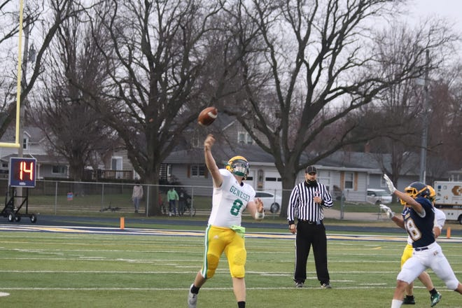 Geneseo's Mason Jones, No. 8, at the Geneseo – Sterling game on Friday, March 26, at Sterling