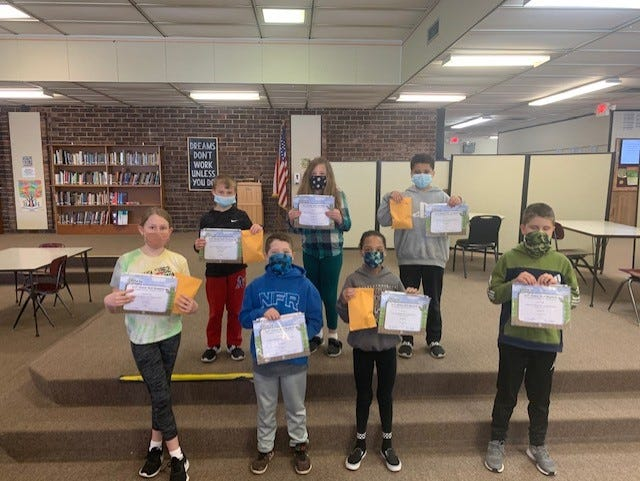 Annawan Kiwanis Members presented BUG (Bringing Up Grades) Awards to fourth and fifth graders March 19th at the Annawan Grade School. Students must raise a grade (example: C to a B) while maintaining the rest. Students pictured who received awards from left in the front row were fifth graders Regan Nanninga, Kaleb Klockenga, Tiana Jones and Pierce Childs. In the back row are 4th graders Brady Clementz, Ayvarie Parker and Lincoln Samuels. Fourth grader Shelby DeSplinter was missing for the photo. The students are taught by Lisa Spivey and Ann Heller.