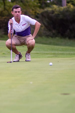 Knox College's Harrison Phillips reads the green during a practice round on Thursday, Sept. 19, 2019 at Soangetaha Country Club in Galesburg.