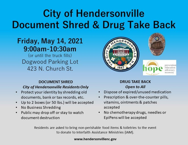 Hendersonville will hold aDocument Shred and Drug Take Back drive-thru event for city residents on May 14.