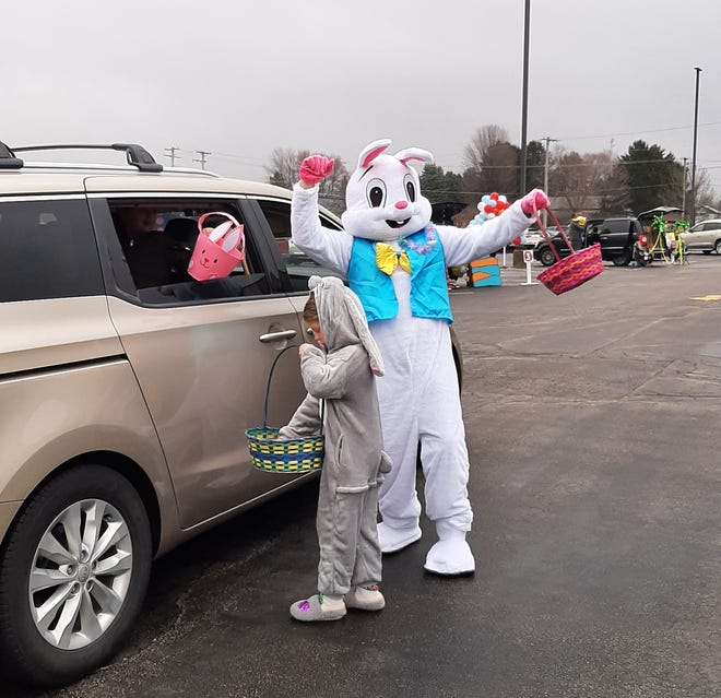 The Easter Bunny found time in a busy schedule to stop Saturday at Crossroads Community Church in Freeport to help kick off a scavenger hunt as part of the church's Easter celebration.