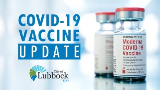 Moderna vaccines are available at the Lubbock Memorial Civic Center this week.