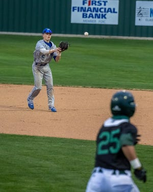 Midlothian infielder Brady Redmon (2) gets an easy hop for an out during a Dulin Memorial Tournament game against Waxahachie. Redmon's two-run double was the difference last week as the Panthers edged Cleburne, 2-0.