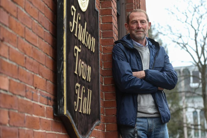Joe Durant poses for a photo outside Town Hall in Hudson on March 28, 2021. Durant, who has been serving on the Hudson Board of Selectmen for almost 40 years, has decided not to run again.
