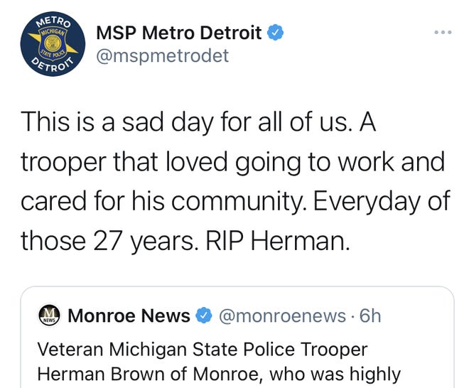 Tweet from Michigan State Police on March 29, 2021