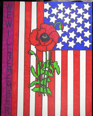 "Matthew Cole's ALA Unit 376 Poppy Poster Contest entry ""We Will Remember"" was a first place winner from Middle School, Class 2, in 2019. The contest has begun again in the Oxford Academy Middle and High Schools."