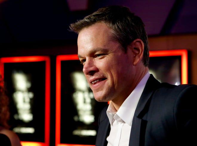 Matt Damon talks with reporters before a movie charity screening at Harkins Bricktown 16 in Oklahoma City on July 21, 2016.