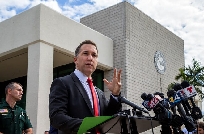 State Attorney Dave Aronberg speaks to the media after a hearing in the Tiger Woods DUI case at the North County Courthouse in Palm Beach Gardens, Florida on October 27, 2017.