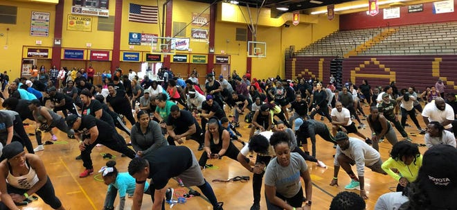 On DONAMATRIX DAY, participants workout at the Home Town Fit Fest held at the Petersburg High School on April 6, 2019.