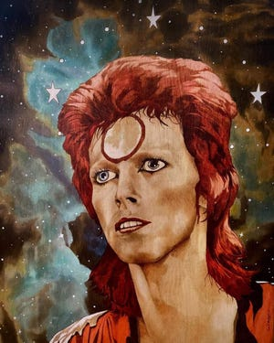 """""""Turn and Face the Strange"""" is a David Bowie-themed art exhibition 6 to 10 p.m. Friday at The Hub Art Factory in downtown Canton. Newly-created artwork will include this piece by Erin Mulligan as well as from 20 other artists."""