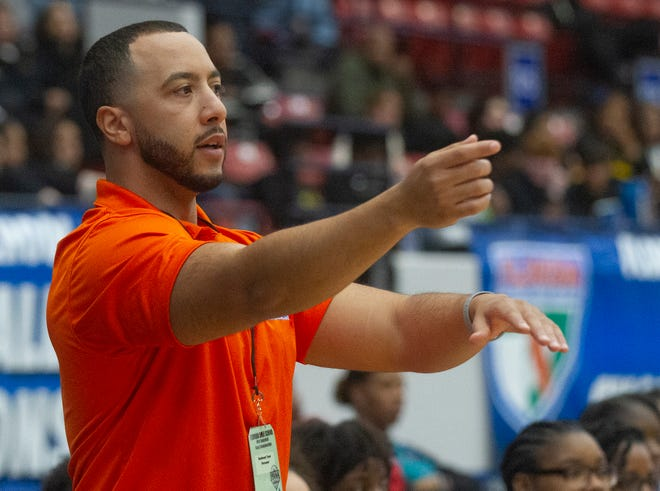 Ex-Southeast High girls basketball coach Brian Alexander coaches his players against American Heritage during the team's 5A state semifinal game at The RP Funding Center in Lakeland on Feb. 27, 2020. Alexander stepped down as coach of the Seminoles after two seasons.