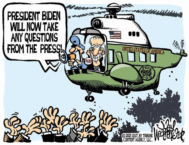 Weatherford cartoon: Now taking questions. Joey Weatherford cartoon on President Joe Biden.