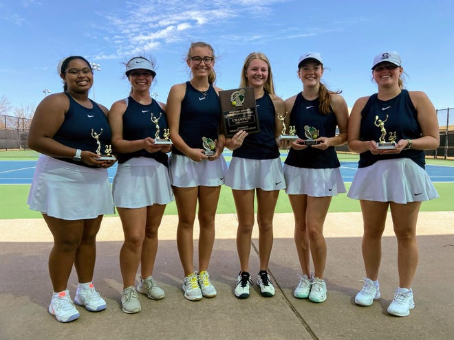 The Shawnee High School girls' tennis team won the championship of the Western Heights Tournament this past weekend. Team members from left to right are: Olivia Stevenson, Mackenzie Steele, Abigail Looper, Olivia Stobbe, Elise Diamond and Grace Bryant.