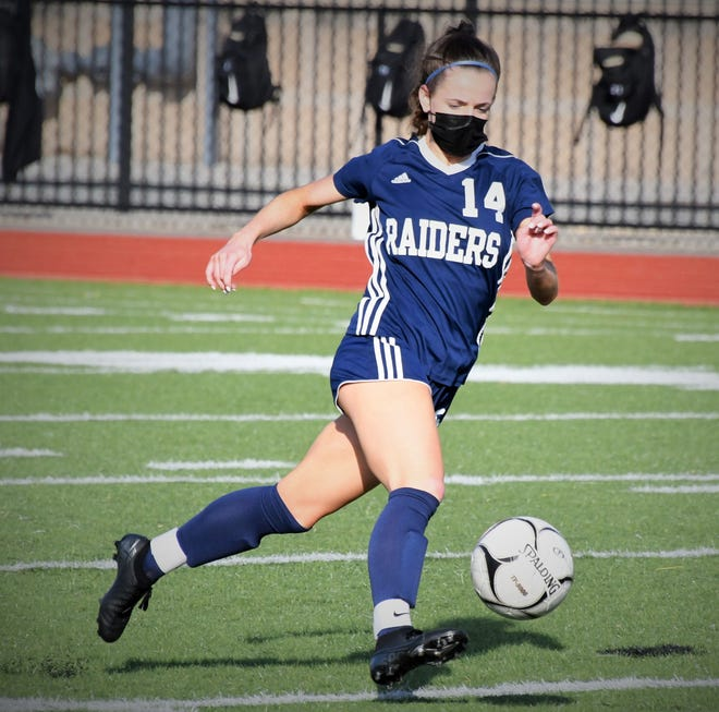 Brooke Sullivan controls the ball for Somerset-Berkley and looks to start the attack March 25 in South Coast Conference soccer action against Greater New Bedford Voc-Tech. The game ended in a 4-4 tie.