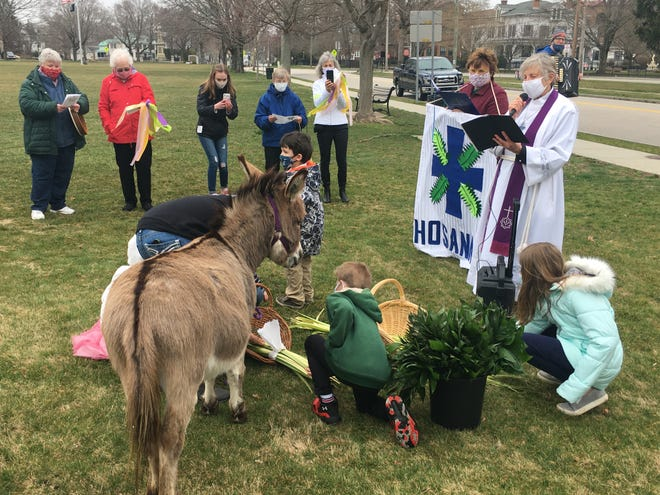 The Rev. Mary Robinson, right, of St. Mark Evangelical Lutheran Church in Norwich, reads a Blessing of the Palms on Sunday, while children and Maybe the Donkey from the Sheffield Way Farm in Exeter, R.I., help out.