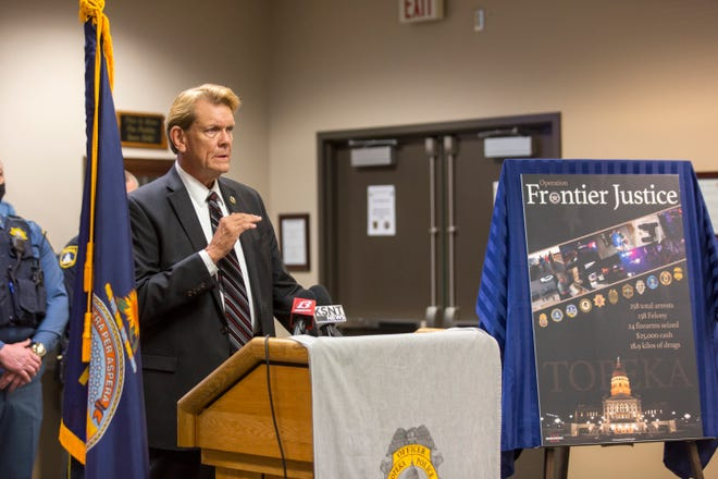 U.S. Marshal for the District of Kansas Ron Miller speaks about the process behind Operation Frontier Justice — a multi-agency effort to cut down on violent crime in Topeka that led to more than 250 arrests in March — on Monday morning at the Law Enforcement Center.