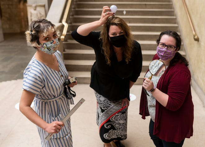 WORCESTER - A team of three women are working on creating merchandise based on art in the museum's collection, including these face masks. The team consists of  Danielle Waseleski, Sandra Polinack and Sarah Gillis.