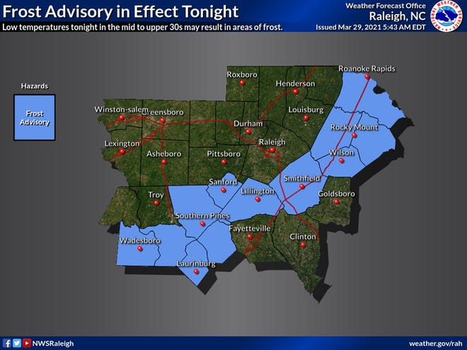 The National Weather Service has posted a frost advisory for areas to the west and north of Cumberland County. [Contributed photo]