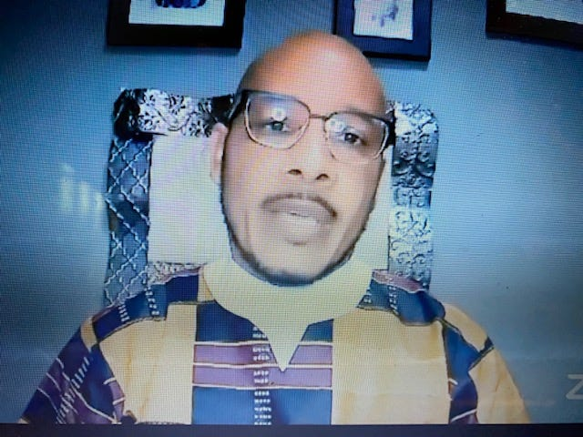 The Rev. Ron Rawls, senior pastor of Greater Bethel AME Church, delivers a sermon during Sunday morning worship service via Facebook.