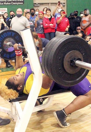 Union County junior Mahailya Reeves was the Class 1A state championship with a total of 490 pounds, high bench of 315 and high clean and jerk of 175.