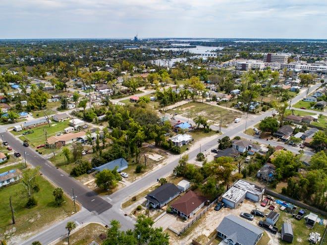 This drone photo taken over the Glenwood Community Center shows the neighborhood looking southeast.