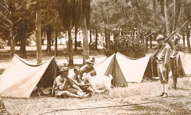 U.S. Marines are shown in Miami during WWI.