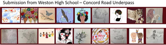 Weston High School students are planning to create 18 panels on both sides of the Concord Road underpass of the rail trail.