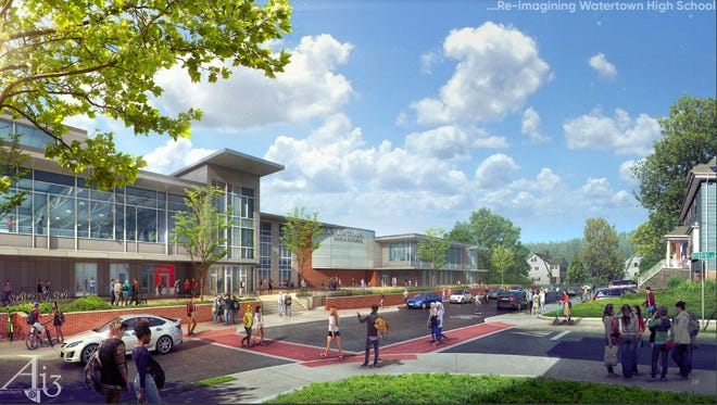 Rendering of Option 1H of the new Watertown High School viewed from the main entrance on Columbia Street.