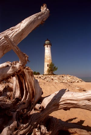 Crisp Point Lighthouse shown on July 1, 1998. Located 12 miles west of Whitefish Point on Lake Superior. Built in 1904.