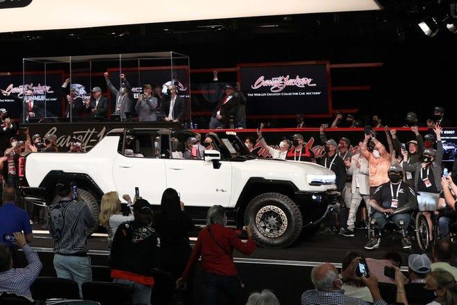 VIN 001 of the 2022 GMC Hummer EV pikcup went for $2.5 million at Barrett-Jackson auction.