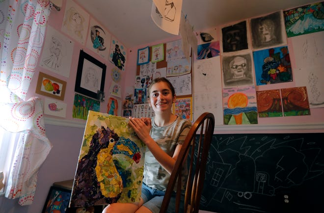 "Taylor Scalzo's ""original interest in cartooning and encouraged her to try painting, eventually leading to her using a palette knife which has led to her vivid style,""  said AIH program coordinator Doug MacGregor."