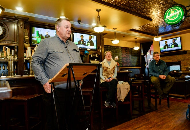 Senator Jon Tester holds a press conference at the Celtic Cowboy on Monday morning to discuss the impacts of the COVID-19 relief bill.  Sen. Tester was joined by city commissioner Mary Sheehy Moe, Brent Doney of the Great Falls Development Authority, and Celtic Cowboy owner Peter Jennings.