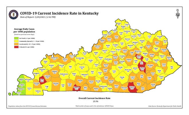 The COVID-19 current incidence rate map for Kentucky as of Sunday, March 28.