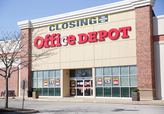A closing sign hangs above Office Depot, 100 S Creasy Lane, Monday, March 29, 2021 in Lafayette.