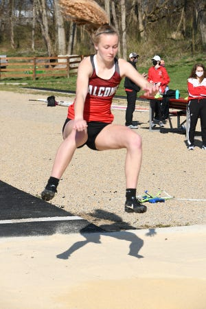 Fairfield Union's Isabella Neal participates in the Long Jump Saturday afternoonn at the Zuber Relays Invitational at LUHS. -Jamie Potts/Lancaster Eagle Gazette