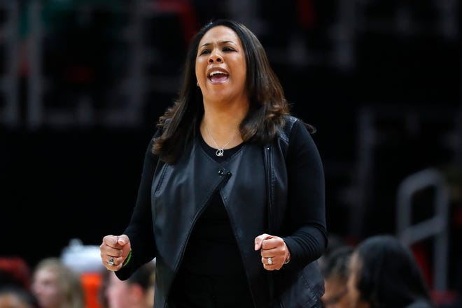 In this March 2019 file photo, new Memphis women's basketball coach Katrina Merriweather reacts in the first half of a game against Green Bay in the Horizon League conference tournament championship.